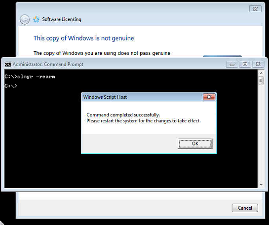Windows 2008 Server is not Genuine. Extend grace/evaluation period for Windows server 2008.